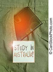 trouser, 勉強する, ポケット, 前部, 写真, 勉強しなさい, メモ, 行く, ビジネス, 札入れ, 完了しなさい, 小さい, 順序, 外国である, あなたの, 提示, 表示法, paper., 中, australia., showcasing, 執筆, 国