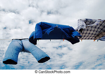 trousers and shirts - Drying trousers and shirts on wind...