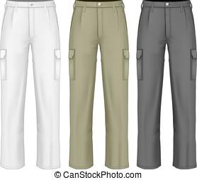 trousers., lavoro, uomini