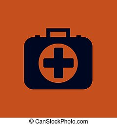 trousse secours, icon., vecteur, illustration