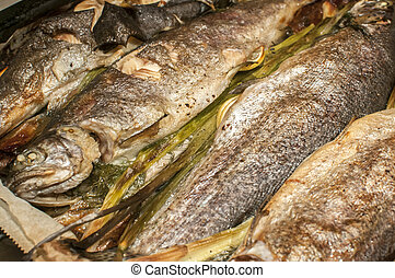 Trout baked in oven