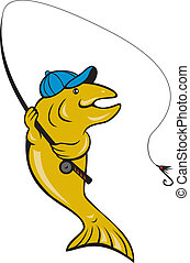 illustration of a trout fish fly fishing with fishing rod on isolated background done in cartoon style