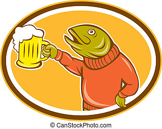 Trout Fish Holding Beer Mug Oval Cartoon - Illustration of a...