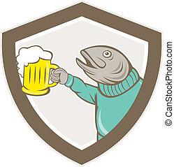 Trout Fish Holding Beer Mug Shield Cartoon