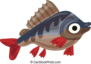 Trout fish icon, cartoon style
