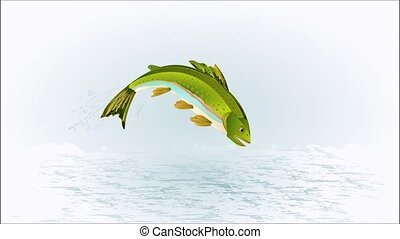 Trout fish jumping caught ephemera - Animation of...