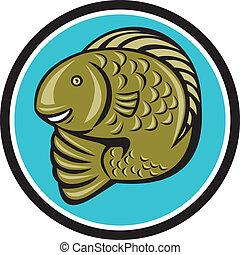 Trout Fish Jumping Circle Cartoon
