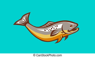 Trout Fish Jumping Retro - 2d animation of a trout fish...