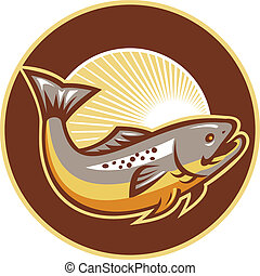 Trout Fish Jumping Sunburst Circle - Illustration of a trout...