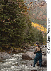 Trout Fishing Vertical - Fly Fisherman in a mountain stream...