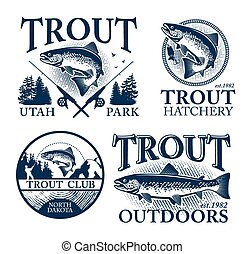 Trout fishing - Vintage trout fishing emblems, labels and ...