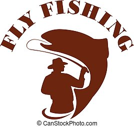 Trout Fly Fishing Isolated Retro - Illustration of a fly...