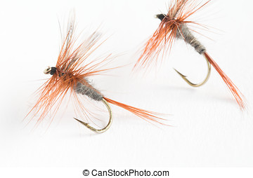 Trout fly - Two fake flies used for trout fishing