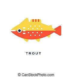 Trout, freshwater fish geometric flat style design vector Illustration