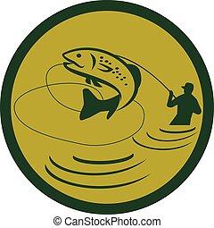 Trout Jumping Fly Fisherman Circle Retro