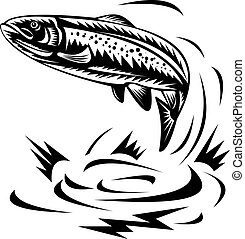 Trout jumping - illustration of a trout done in woodcut ...