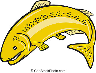 Trout Rainbow Fish Jumping Cartoon - Illustration of a trout...