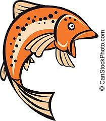 Trout Rainbow Fish Jumping Up Cartoon - Illustration of a...