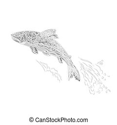 Trout salmonidae as vintage engrave