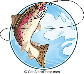Trout vector - Vector illustration of trout, fishing symbol