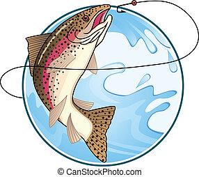 Vector illustration of trout, fishing symbol