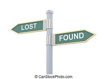 trouvé, 3d, perdu, panneaux signalisations
