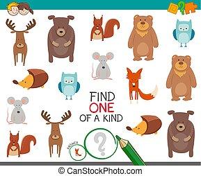 trouver, animal, de, a, espèce, jeu, pour, gosses