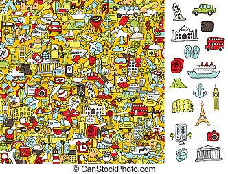 trouver, droit, icônes voyage, visuel, game., solution,...