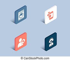trouver, expédition, signe., icons., lavage, communication, soutien, utilisateur, machine