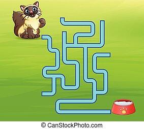 trouver, jeu, chats, manière, labyrinthe, lait