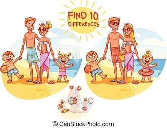 trouver, les, 10, differences., famille heureuse, vacances