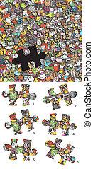 trouver, les, droit, morceau, visuel, game., solution, dans, caché, layer!