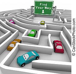 trouver, ton, manière, -, voitures, perdu, dans, labyrinthe