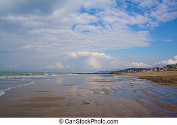 Trouville beach at low tide