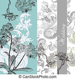 trouwfeest, achtergrond, met, orchids