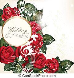 trouwfeest, achtergrond, met, rode rozen, f