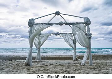 trouwfeest, archway, geschikte, op het zand