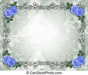 trouwfeest, blauwe , rozen, grens