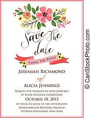 trouwfeest, bloem, uitnodiging