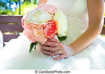 trouwfeest, bloemen, bouquetten
