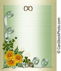 trouwfeest, bloemen, gele, uitnodiging
