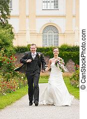 trouwfeest, -, bruid en bruidegom, in, een, park