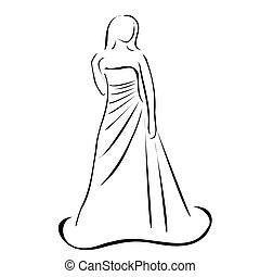 trouwfeest, bruid, jurkje