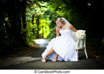 trouwfeest, buiten, portretten
