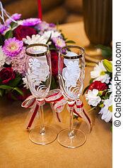 trouwfeest, champagne bril