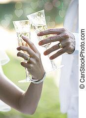 trouwfeest, de toost van champagne