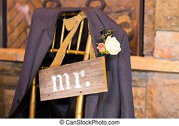 trouwfeest, decor, m., en, mevr., meldingsbord