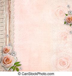 trouwfeest, dekking, voor, een, album, met, kant, rozen