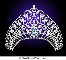trouwfeest, diadeem, met, blauw stenig