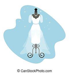 trouwfeest, dress., modieus, witte , toga, op, mannequin., bruid, apparel., vector.